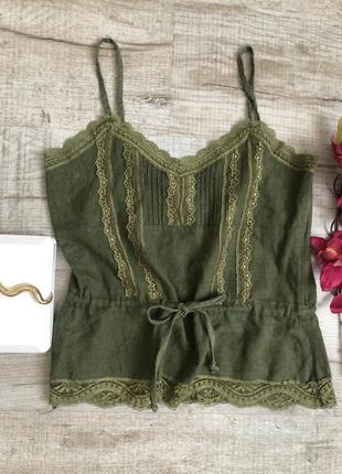 Топ  майка топик лен лён лляний льняной зеленый хаки модный стильный