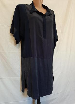 Синее платье рубашка туника лиоцел оверсайз