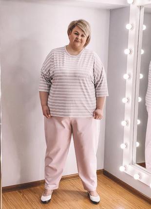 Комплект женской одежды костюм туника брюки батал больших размеров лаванда