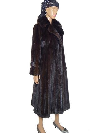 Приталенное меховое пальто из норки р46-48 норковая шуба №04