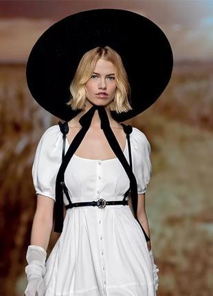 Роскошная широкополая шляпа летняя соломенная с широкими полями в стиле dior