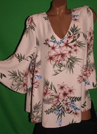 Нежная вискозная блуза (ххл замеры) с узором, замечательно смотрится