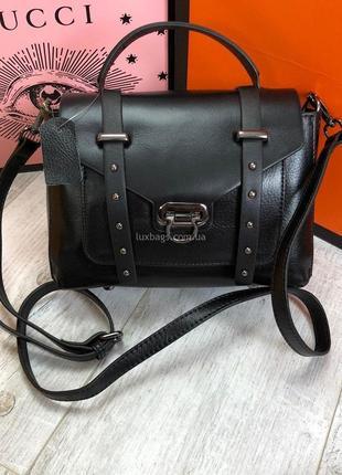 Кожаная женская сумка черная