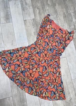 Шёлковое оранжевое платье,принт ,миди платье,бабочки