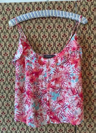 Топ шифоновый пуговицы цветочный принт блуза бретели рюши воланы