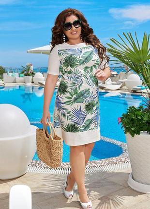 Льняное платье с тропическим принтом