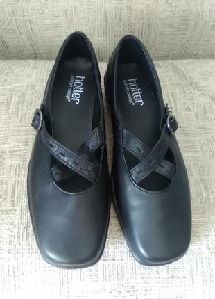 Туфли черные, кожа, 25см, hotter