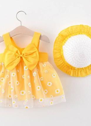Комлект сукня+шляпка жовтий