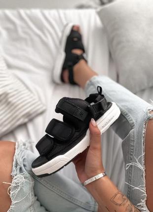 Женские босоножки new balance black white ◈ сандалии черного цвета 😍