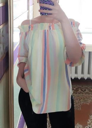 1+1=3 стильная блуза блузка в полоску с открытыми плечами f&f, размер 50 - 52