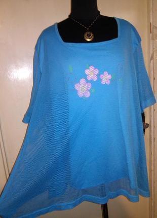 Натуральная-хлопок,2 слоя-сеточка,трикотажная блузка-футболка,большого размера,queen-size