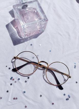 Имиджевые прозрычные круглые очки в золотой оправе