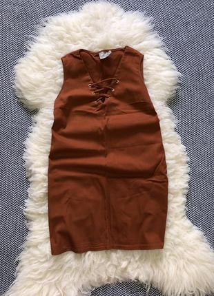 Платье сарафан карманы шнуровка завязки кирпичное