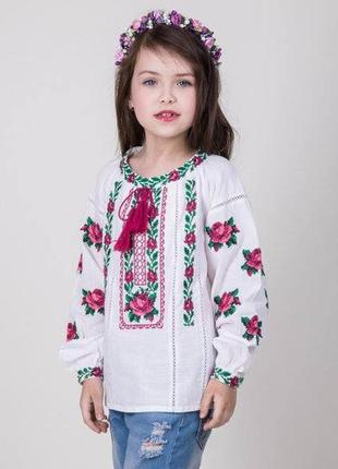 Нежнейшая вышиванка для девочки на 100% хлопке (домотканка)