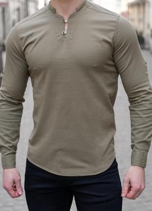 Рубашка мужская приталенная лонгслив - оливковый цвет/без ворота