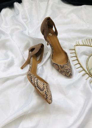 Туфли лодочки в змеиный принт