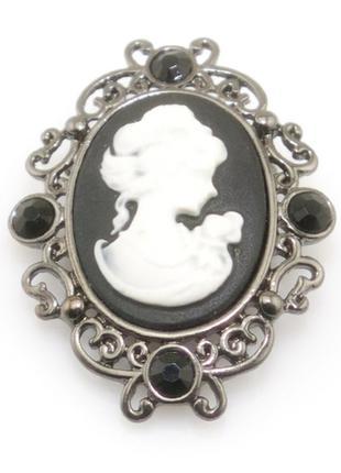 Брошь-кулон  камея, черная