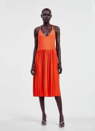 Zara новое платье, яркое платье плиссе, платье миди, трендовое платье zara