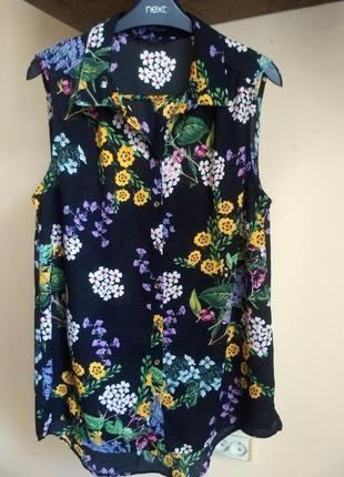 Легкая летняя блуза без рукавов в цветочный принт george