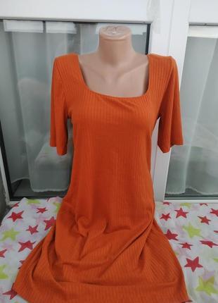 Базовое платье в рубчик,миди,вырез на спинке, трикотаж