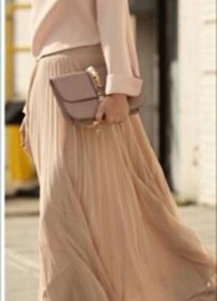 Шикарная бежевая юбка плиссе размер универсал