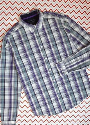 😉1+1=3 стильная рубашка сорочка с длинным рукавом в клетку esprit, размер 48 - 50