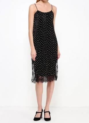 Платье миди в мелкий горох с разрезами по бокам top shop