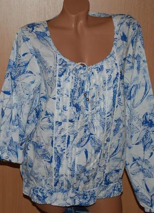 Блуза принтованая бренда redoute /100%хлопок / регулируемый рукав/