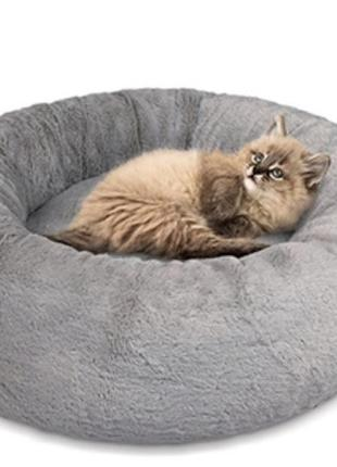 Лежак soft для собак и кошек 48х48х17 см серый pet fashion
