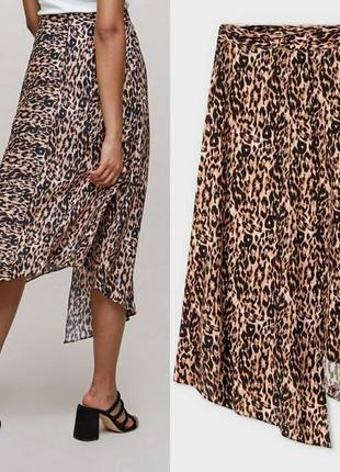 Суперская асиметричная юбка в анимал принт длины миди