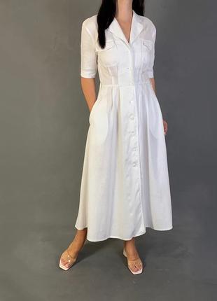 Белое платье  халат миди натуральный лён mango