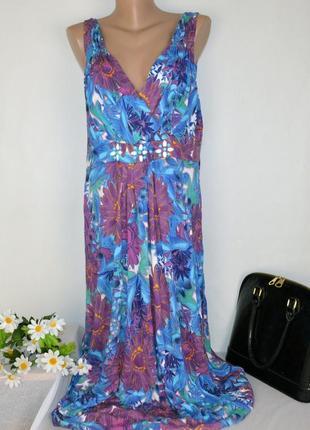 Яркое макси платье debenhams collection индия принт цветы большой размер этикетка