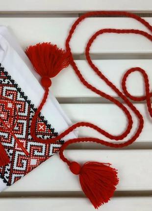 Пояс шнурок красного цвета для вышиванок платьев рубашек