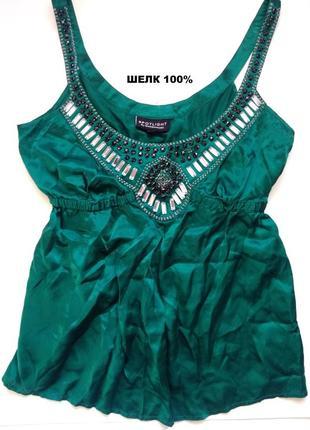 10-12 роскошная изумрудная шелковая блуза топ, блуза из натурального шелка 100%