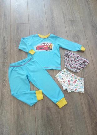 Пижама трикотаж голубая свитер + штаны свишот  принт машинки хлопок трусики