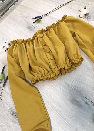 Блузка топ new look горчичного жёлтого цвета открытые плечи длинный рукав рюши
