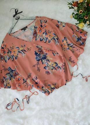 Блуза на запах цветочный принт primark p xl-xxl