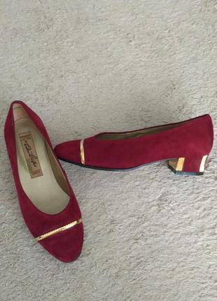 Бордовые туфли лодочки из натуральной замши  walter  kafer, р.38