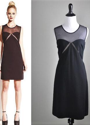 """Маленькое коктейльное черное платье по фигуре с прозрачной кокеткой """"8"""" (usa) на 44-46 размер"""