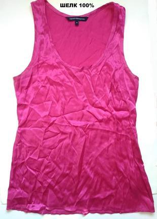 6-8 потрясающая яркая блуза топ из натурального шелка, блузка без рукавов 100% шелк