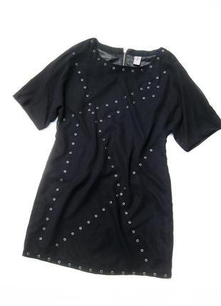 Платье чёрное vero moda jeans с декором с коротким рукавом
