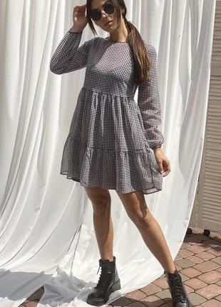 Оригинальное платье из шифона с принтом гусиная лапка 🤩