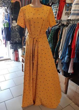 Стильное платье цвета шафран+мелкий горошек в пол !!!!хит 2020 года