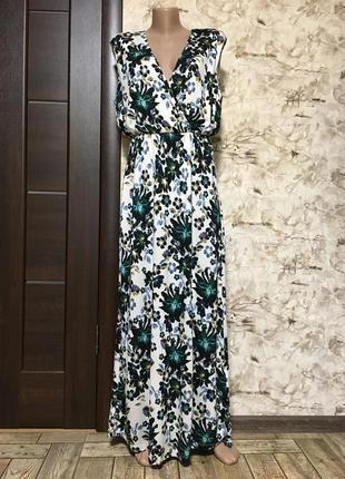 Идеальное трикотажное платье в принт с разрезом h&m
