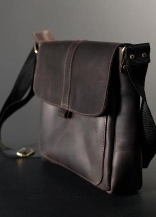 Мужской кожаный портфель, сумка через плечо, модель 53, винтажная кожа, цвет шоколад