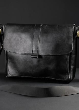 Мужской кожаный портфель, сумка через плечо, модель 53, итальянская кожа, цвет черный