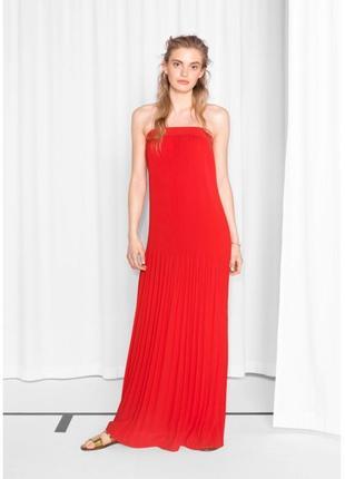 Плессировка красное длинное платье 🎀& other stories