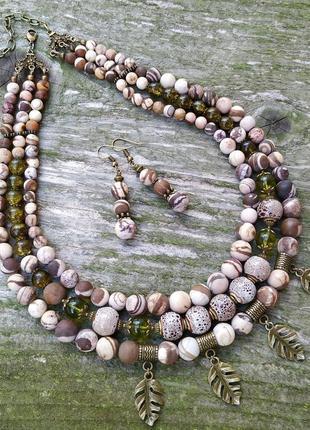 Бохо намисто з натурального каміння яшми та перидоту