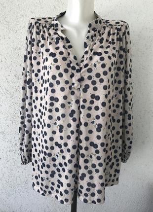 Шикарная блуза в принт с объемными рукавами