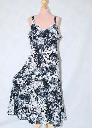 Летнее льняное платье сарафан натуральный лен миди длинный сарафан на лето батал